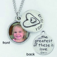 Photo necklace - 1 Cor. 13:13 (Pewter necklace)