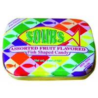 Sours - Fruit Flavored - Fish shaped :   Candy - Fish pocket tin, 641520099039
