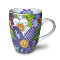 Musical Flowers - Ceramic Curvy Mug - 350 ml