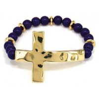 Gold/Amy colored - Hammer cross - Round bead bracelet