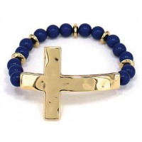 Gold/Blue colored - Hammer cross - Round :   , 759830220958
