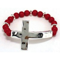 Silver/Red colored - Hammer cross - Roun :   , 759830221016