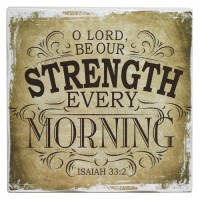 O Lord be our strength - Brown :   Small wall decor block - 16 x 16 cm, 6006937122505