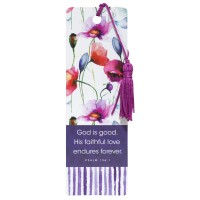 God is good - Flowers :   Bookmark with tassel - PVC, 6006937122581