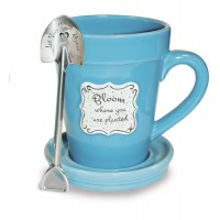 Bloom where you are planted - Mug Flower Pot Coffe Mug with saucer and spoon