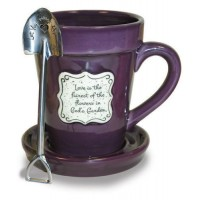 Love is the harvest of the flowers in God's Garden - Mug Flower Pot Coffe Mug with saucer and spoon