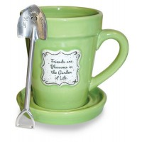 Friends are blossoms in the Garden of Life - Mug Flower Pot Coffe Mug with saucer and spoon