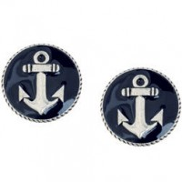 Round earrings with anchor - 20 mm
