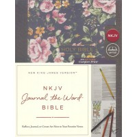 NKJV, Journal the Word Bible, Cloth Over Board, Gray Floral, Red Letter Edition, Comfort Print