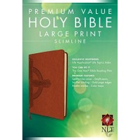 Slimline Bible - Large Print Brown with Cross design - Imit. Leather