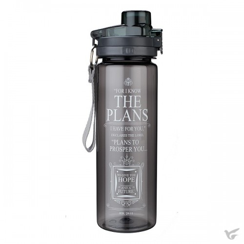 For I know the plans - Black - Plastic Water Bottle 750 ml