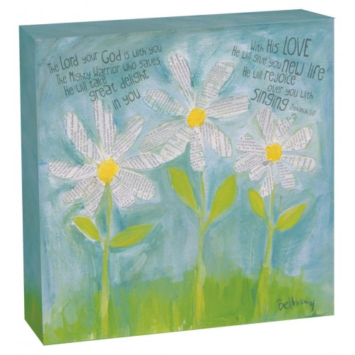 The Lord your God is with you - Canvas plaque - 30 x 30 cm