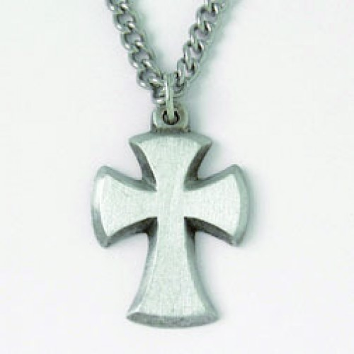 Cross - Beveled Flared (Pewter necklace)