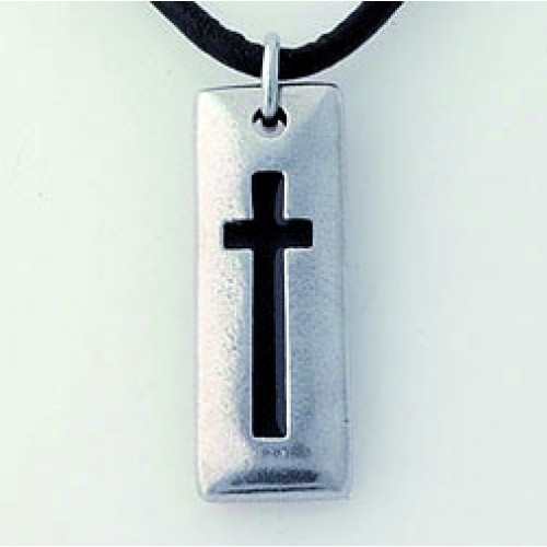 Cross Tablet : Necklace - Pewter, 637955049664