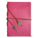 She is clothed in strength - Pink Faux Leather journal with gold gilding