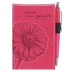 With God all things are possible - Pink, LuxLeather Pocket Notepad 7,5 x 12.5 cm