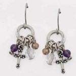 Surgical steel wire earrings - Hoop with Cross and beads