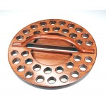 Avondmaal-tray rond 34 cups hout